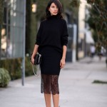 Top-Fashion-Street-Style-Skirt-Black-Lace-Pencil-Mid-Calf-Sheath-Midi-Skirt-Work-Outfits-